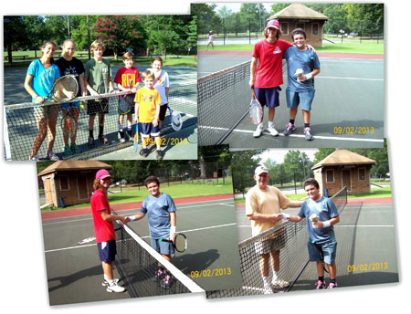 collage of 4 photos showing people at tennis camp