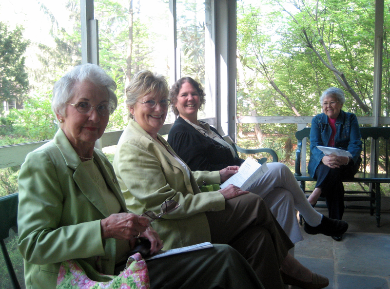 Women on the porch at the Woman's club
