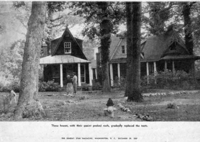 """""""These houses, with their quaint peaked roofs, gradually replaced the tents."""""""